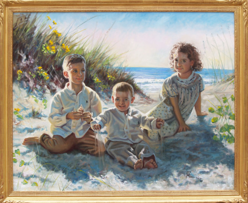"""Hannah, Ryan & Aaron on the Beach"" 44"" x 36"" oil on linen"