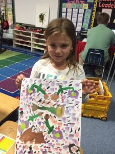 She painted right threw her tears to produce the most joyful painting of the day!